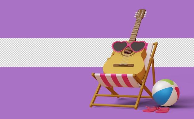 Гитара в солнцезащитных очках на шезлонге, шаблон летней распродажи, летний сезон, 3d-рендеринг