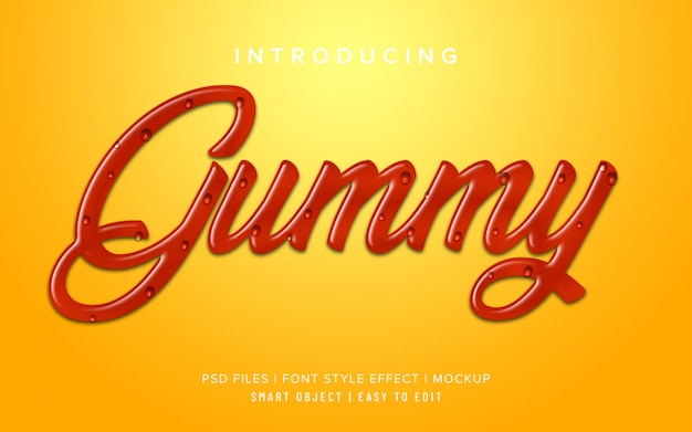 Gummy candy font style effect mockup
