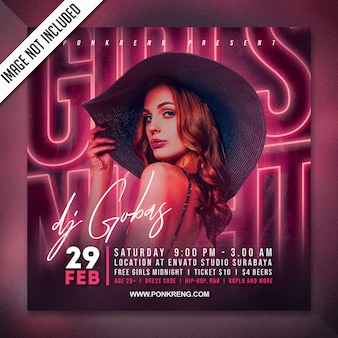 Gurls night party flyer template
