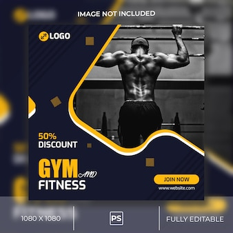 Gym and fitness instagram пост или квадратный баннер