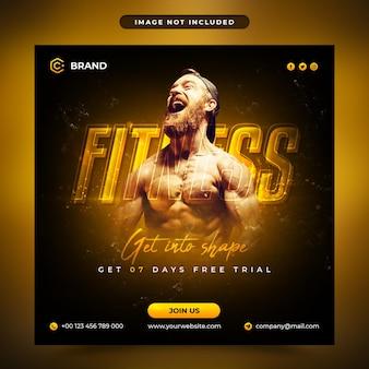 Рекламный баннер для спортзала и фитнеса в instagram или шаблон сообщения в социальных сетях