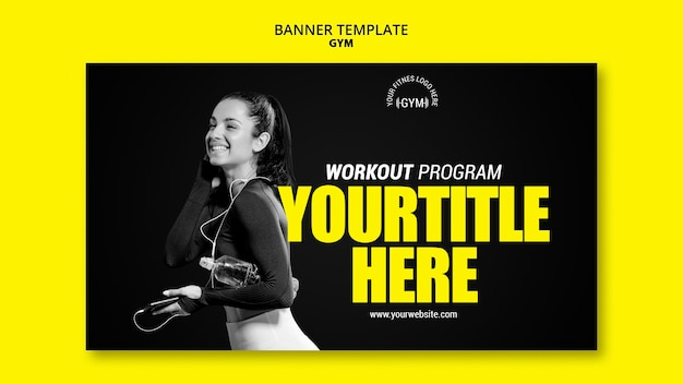 Gym banner template concept