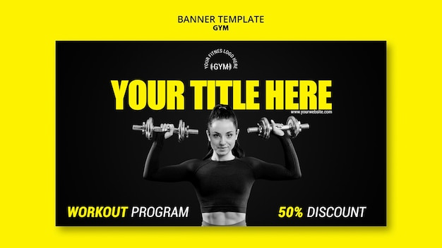 Gym banner template design