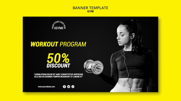 Gym banner template theme