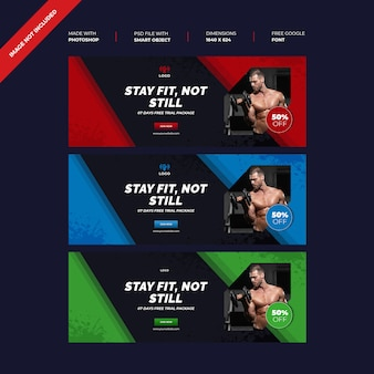 Gym facebook cover photo design concept