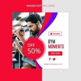 Gym-fitness banner template social medial banner