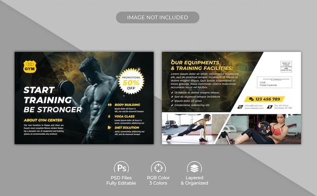 Gym and fitness center promotional postcard template