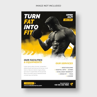 Шаблон флаера и плаката для фитнеса в тренажерном зале
