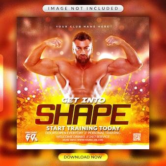 Gym fitness flyer or social media banner template