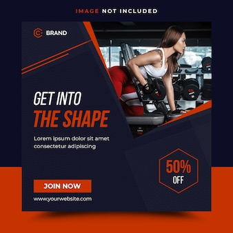 Gym fitness instagram banner template