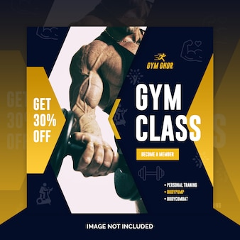 Gym fitness instagram post or square flyer banner