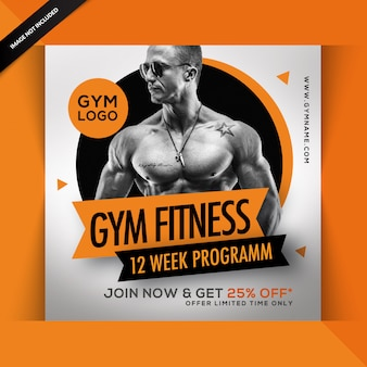 Gym fitness instagram post or square flyer template