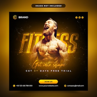 Gym and fitness promotional instagram banner or social media post template