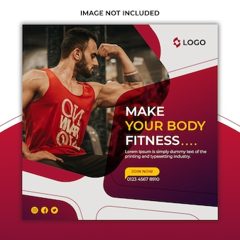 Gym and fitness promotional social media post and banner template