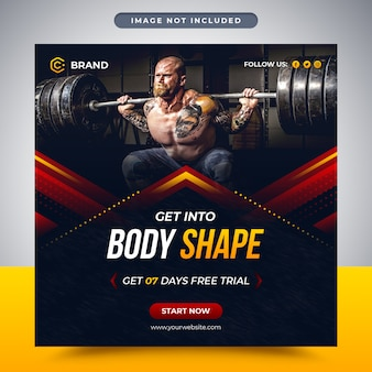 Gym and fitness promotional social media post and social media banner or web banner template