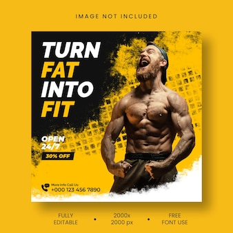 Gym fitness social media and instagram post template