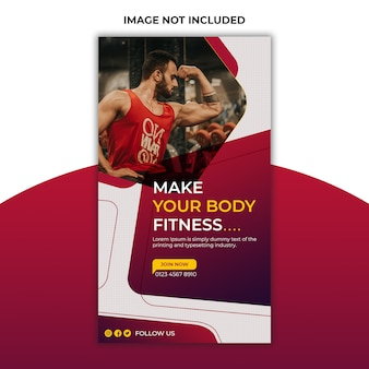 Gym and fitness social media post and instagram stories template