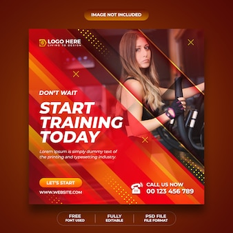 Gym and fitness social media post and instagram template