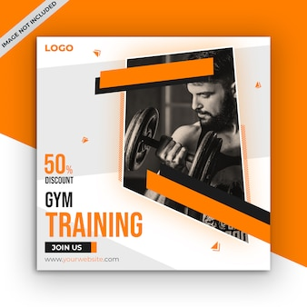 Gym and fitness social media post template