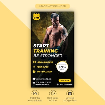 Gym and fitness training center instagram story template