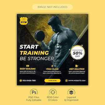 Gym and fitness training center square flyer or social media post template