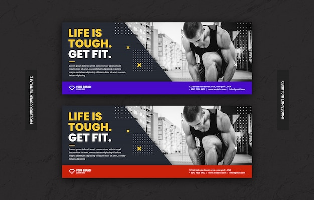 Facebook 커버 페이지의 소셜 미디어 게시물을위한 체육관 피트니스 트레이닝 센터 템플릿
