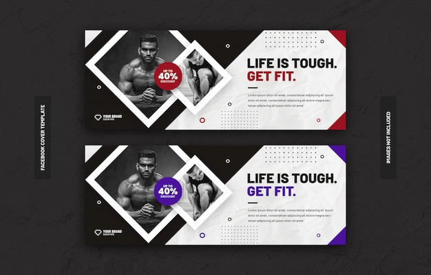 Gym fitness training center template for social media post on facebook cover page