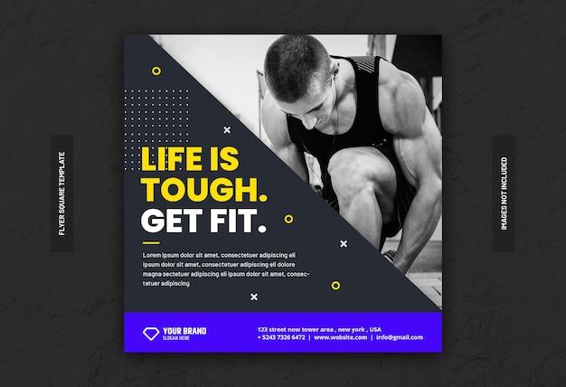 Тренажерный зал фитнес-тренинг в социальных сетях баннер квадратный флаер