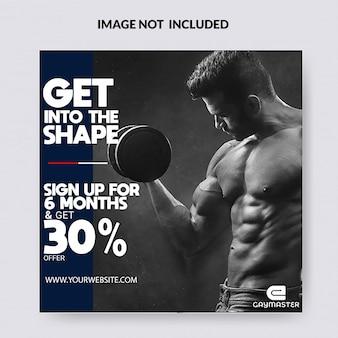Gym, gymnasium & yoga social media post template