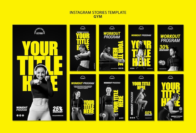 Gym instagram stories template