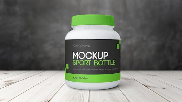 Макет бутылки с протеином в спортзале