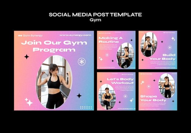 Расписание занятий в спортзале, публикация в социальных сетях