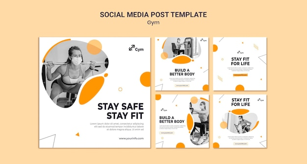 Gym social media post design template