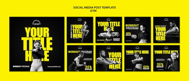 Gym social media post template
