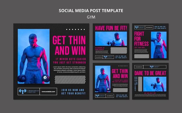 Gym social media posts template