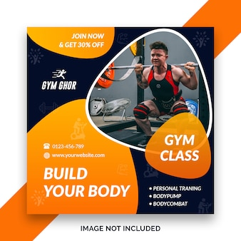 Gym square banner template
