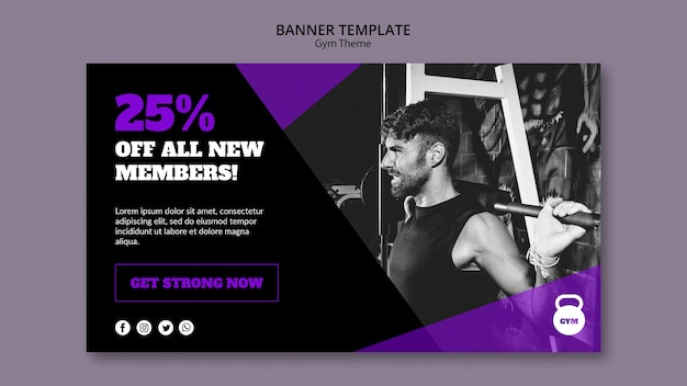 Gym theme concept banner template
