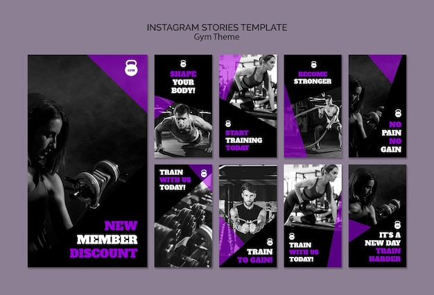 Gym theme concept instagram stories template