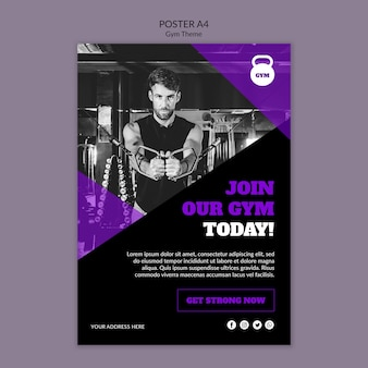 Gym theme concept poster template Free Psd