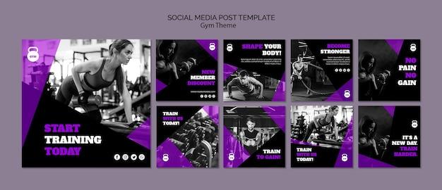 Modello della posta di media sociali di concetto di tema della palestra