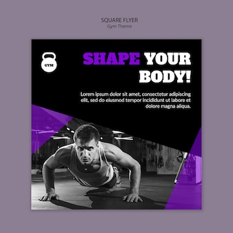 Gym theme concept square flyer template