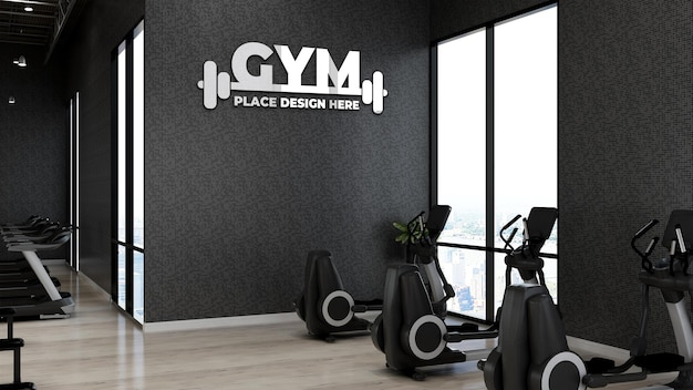 Gym wall logo mockup in the athlete fitness or gym room with black wall