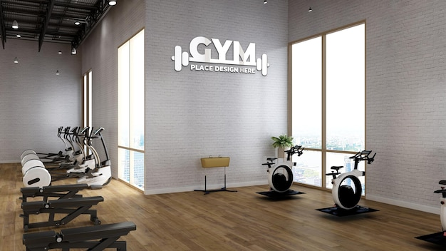 Gym wall logo mockup in the fitness room