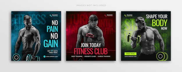 체육관 운동 및 피트니스 훈련 소셜 미디어 게시물 배너 템플릿 또는 정사각형 전단지 인스타그램 게시물