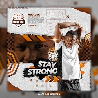Gym young boy flyer social media post template brown background