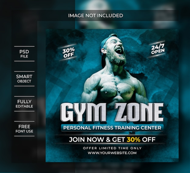 Gym zone flyer template or social media post
