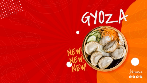 Gyoza or jiaozi recipe with copyspace for asian japanese restaurant or sushibar