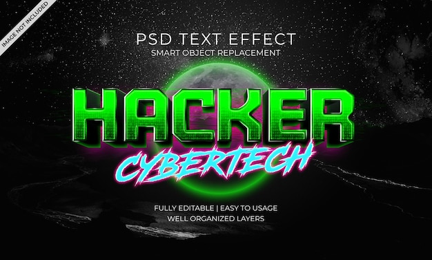 Hacker cybertech text effect template