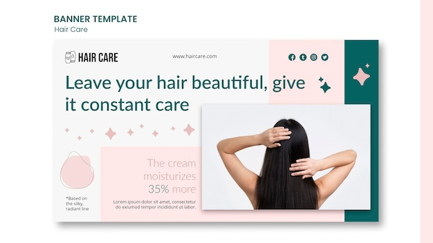 Hair care advice banner template design