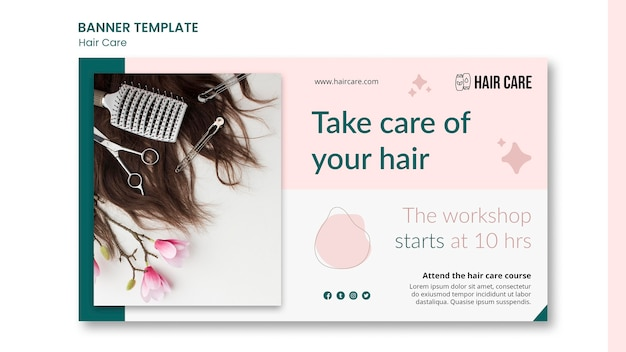 Шаблон баннера совета по уходу за волосами